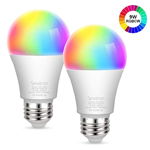 Sinvitron Led Wifi Smart Light Bulb E26 9W, Work with Amazon Alexa, Echo, Google Home and IFTTT, No Hub Required, 900lm, A19 100W Equivalent, RGBCW Multi-color Changing – 2 Pack