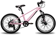 HILAND 20 inch Kid Bike Magnesium Alloy Frame 7 Speed for Boys Girls with Suspension Fork,Inner Cable, Dual-Di