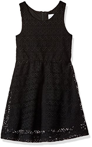 The Children's Place Big Girls' Solid Lace Dress, Black, M (7/8) (Kids Black Dresses)