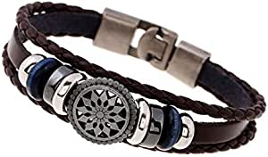 Explosion models buckle men's leather bracelet Europe and the United States new jewelry woven vintage leather bracelet