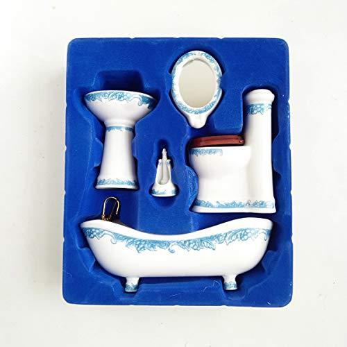 Dollhouse Miniature Ceramic Bathroom Set Supplies Suites 1:12 Scale Model B