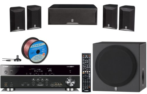 "Yamaha Complete CINEMA DSP 3D Ready Home Theater System with 5.1-channel 525 Watt AV Receiver + 4 Surround Satellite Speakers + 1 Center Channel Speaker + 1 Front Firing 100W Powered 8"" Active Subwoofer (Speaker Wire Included)"