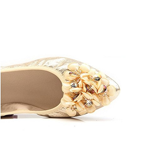 Loafer Wedding Gold Ballet Pointed Rhinestone On Women Shoes Flats Foldable 3 Slip f71x4R