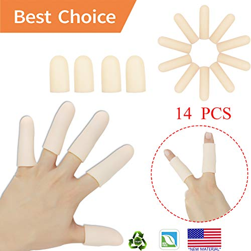 Hand Protection - Gel Finger Cots, Finger Protector Support(14 PCS) New Material Finger Sleeves Great for Trigger Finger, Hand Eczema, Finger Cracking, Finger Arthritis and More. (Small Size) (Nude, Small)