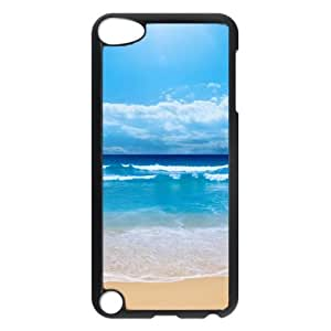 iCustomonline Beautiful Blue Beach Hard Fashion Back Cover Snap on PC Black Case for iPod Touch 5