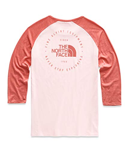 (The North Face Women's Heritage ¾ Baseball Tri-Blend Tee, Pink Salt Heather/Spiced Coral Heather, Size XL)