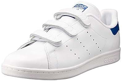 adidas Men's Stan Smith Shoes, Footwear White/Footwear White/Collegiate Royal, 6.5 US