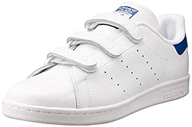 adidas Men's Stan Smith Shoes, Footwear White/Footwear White/Collegiate Royal, 6.5 US