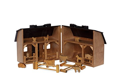 (Wooden Folding Toy Barn and Farm Animal Set, Amish Made)