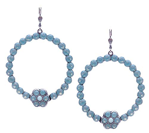 Catherine Popesco Pacific Opalescent Swarovski Crystal Large Round Flower Silvertone Dangle Earrings