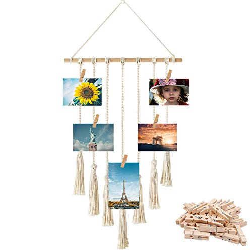 yazi Hanging Photo Collage Display Macrame Wall Hanging Pictures Collage Home Decor, with 30 Wood Clips by yazi