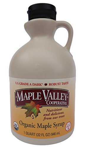 Maple Valley Organic 32 Oz. Grade A Dark Robust Maple Syrup *Formerly Grade B* in Bpa-free Quart Jug