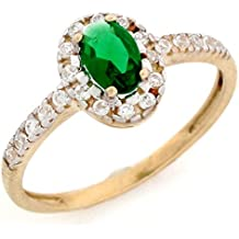 10k Solid Real Gold Oval Simulated Emerald May Birthstone CZ Ring Jewelry