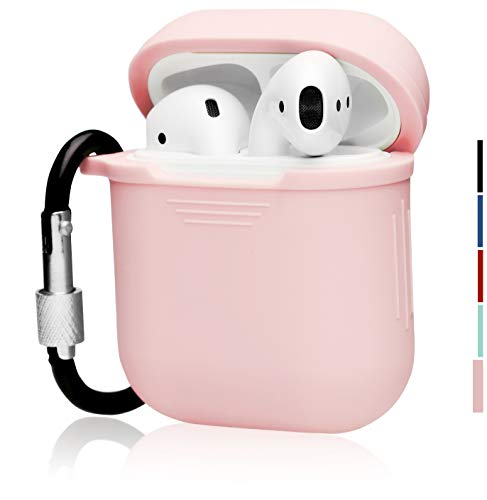 - The OAKS Improved Airpods Case Protective Cover Skin with Lockable Carabiner and Airpods Strap Compatible with Airpods Charger Case (5 Colours Available) (Light Pink)