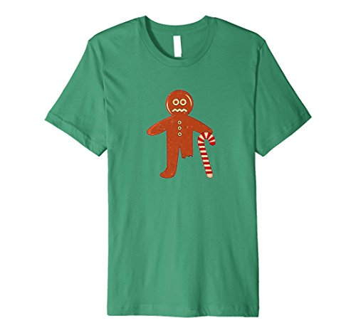 Mens Gingerbread Person Candy Cane Missing Leg T-Shirt 3XL Kelly Green