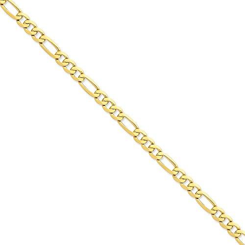 "14 carats - 7 mm-plat Figaro Bracelet chaine 7 ""Motif JewelryWeb pince de homard"