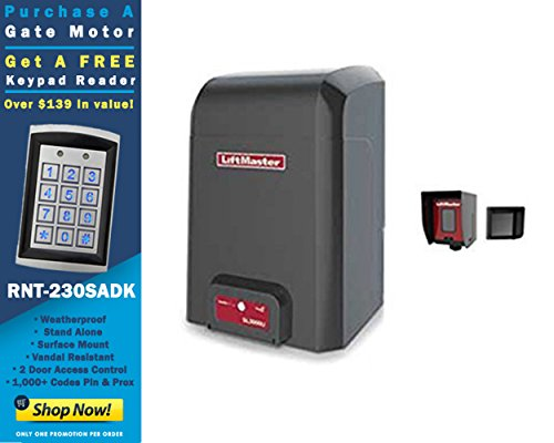 (New LiftMaster CSL24U Commercial Slide Gate Operator with a Free RNT-230SADK Weatherproof Keypad Prox Reader 1000+ Users)