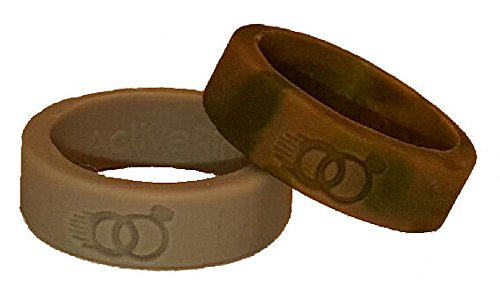 Active Rings - Replacement Wedding Rings for your active lifestyle. Never lose or damage your real wedding ring. Wear an Active Ring! (stone gray and green camo, (Camouflage Stone)