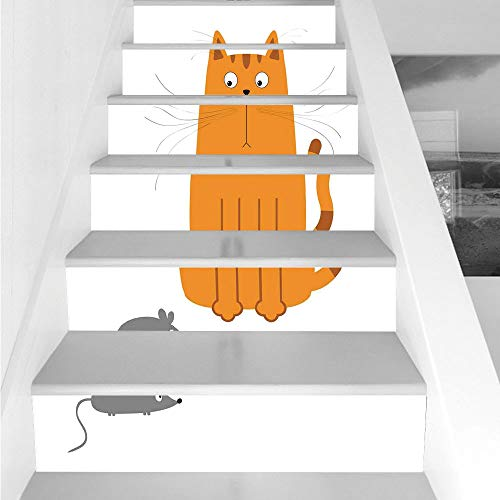 Cheap  Stair Stickers Wall Stickers,6 PCS Self-adhesive,Cartoon,Cute Cat Looking at Mouse Hunter Kitty..