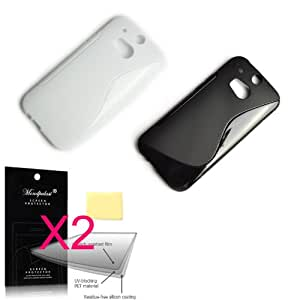 mondpalast@ 4en1 TPU gel Blanco negro Funda CARCASA + 2X de pantalla para ALL new HTC one M8