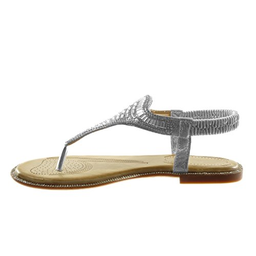 Angkorly Damen Schuhe Sandalen Flip-Flops - Strass - Glänzende - Fantasy Blockabsatz 1 cm Silber