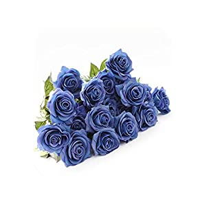 Artificial Flowers for Wedding Party Or Birthday Rose Bouquet Royal Rose Upscale Fresh Latex Real Touch Flowers Home Decoration,Blue 10,20Pcs 104