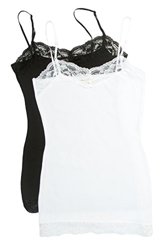 2 Pack Zenana Women's Lace Trim Cami Tank Tops Med Black, White (Girls Lace Trim Camis)