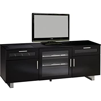 Coaster 700672 Contemporary TV Stand With High Gloss Black Finish   Coaster