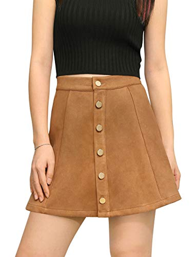 Allegra K Women's Faux Suede Single Breasted Front Button Down Short Mini A-Line Skirt XL Brown