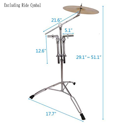 Drum Stand Cymbal Stand Straight Cymbal Stand Drum Hardware Percussion Mount Holder Gear Set Professional Pedal Control Style Double Tom Drum Stand Silver & Black (US stock) from Rgmer
