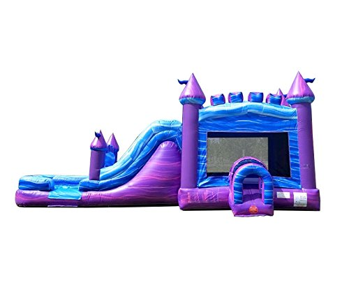 - TentandTable Purple Marble Wet Dry Mega Bounce House Tunnel Front, Slide Climbing Wall Combo, Commercial Grade Inflatable, Blower Included