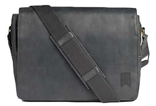 Navali Leather Mainstay Messenger Bag, Black (Suede Laptop Bag)