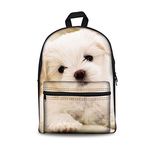 FOR U DESIGNS Kids Travel School Backpack Shoulder Bag for Girls Cute White Puppy Dog ()