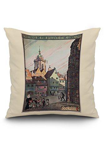 Colmar - Chemins de Fer d'Alsace et de Lorraine Vintage Poster (artist: Hansi) France c. 1921 (20x20 Spun Polyester Pillow, White Border)