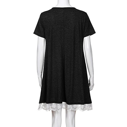 Femmes Tops Tunique Robes Sur Patchwork De Dentelle Filles Vente De L'adolescence Solide Poche Sans Manches Soirée Mini-robe Noire #