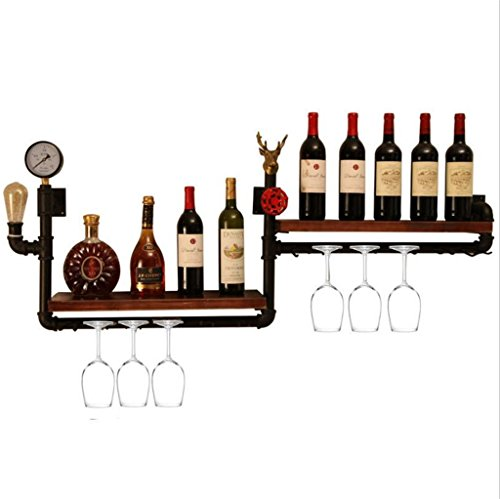 (JJ_Industrial Wall Mounted Metal Wine Rack/Floating Shelves,Industrial Retro Water Pipe Wine Rack Wall Hanging Display Stand/Shelf Decorative Wall hangings for Kitchen/Bar/Restaurant)