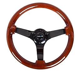 NRG Innovations ST-036BR-BK Classic Dark Wood Grain Wheel (3\