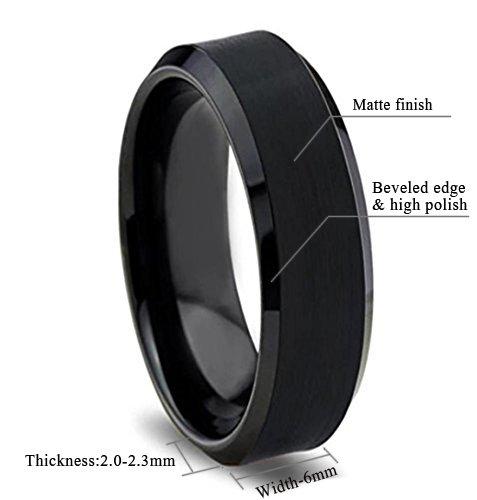 King Will BASIC 6mm Black Tungsten Wedding Band Ring Matte ...