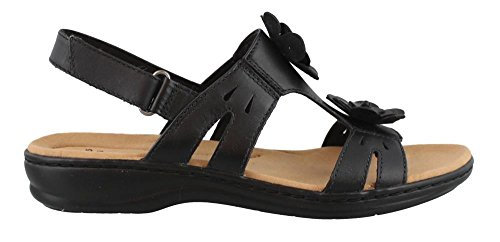 N Strappy Leisa Clarks US Women's Leather Sandal Claytin 10 Black tt6zcqwR