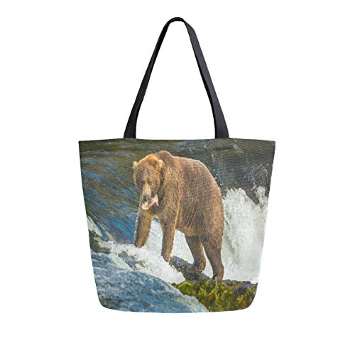 Womens Canvas Tote Bag Alaska Bear Large Shopping Bag Shoulder Handbag