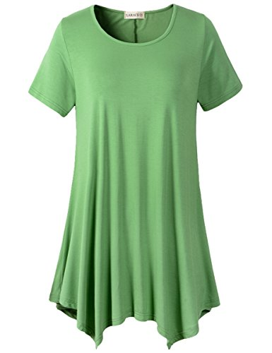 LARACE Womens Swing Tunic Tops Loose Fit Comfy Flattering T Shirt (3X, Green) ()