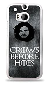 Crows Before Hoes Jon Snow Game of Thrones White Hardshell Case for HTC One M8