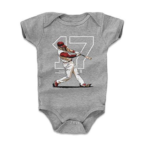 - 500 LEVEL Rhys Hoskins Baby Clothes, Onesie, Creeper, Bodysuit 3-6 Months Heather Gray - Philadelphia Baseball Baby Clothes - Rhys Hoskins Outline W WHT