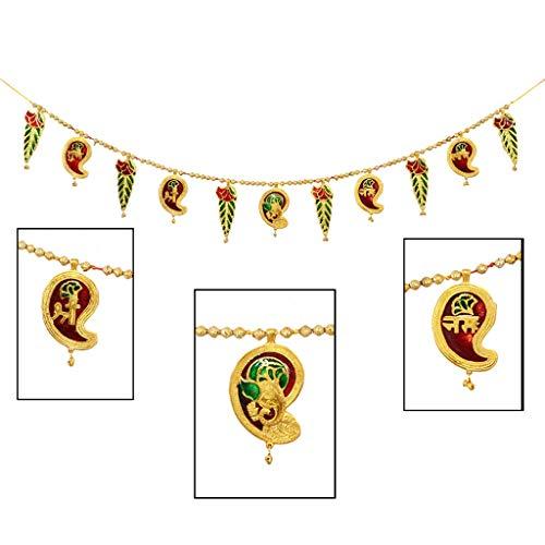 Amba Handicraft Door Hanging Toran Window Valance Dream Catcher Home Décor Interior Pooja bandanwaar Diwali Gift Festival Colorful Indian Handicraft Love.TORAN86
