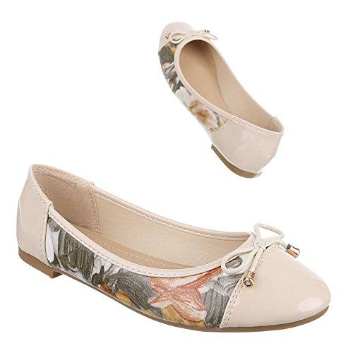 Mujer Bailarinas beige Design multicolor Ital B6Oq0TW