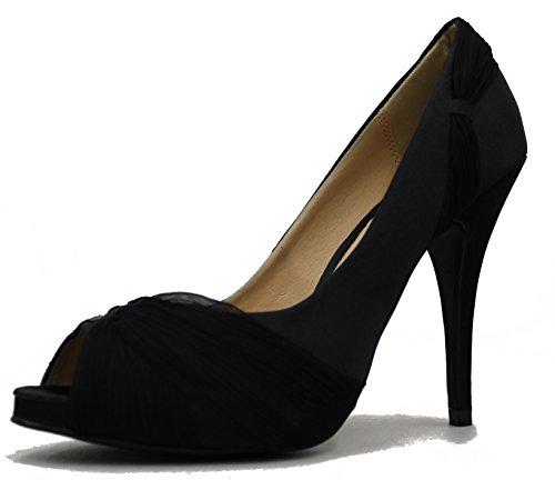 Satin Peep Toe Dress Sandal (Bonnibel Women's Scarlet Stiletto Peep Toe Dress Ruched Satin Heeled Sandal Pump Shoe (8, Black))