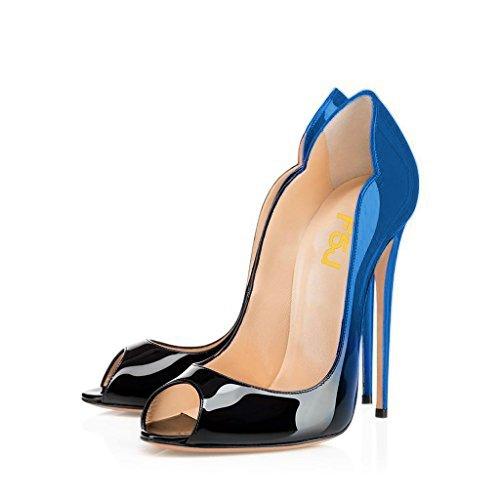 FSJ Women Slide Peep Toe High Heels Pumps Sexy Stilettos Patent Leather Shoes for Party Size 4-15 US B071D1HV9Q 12 B(M) US|Blue-black