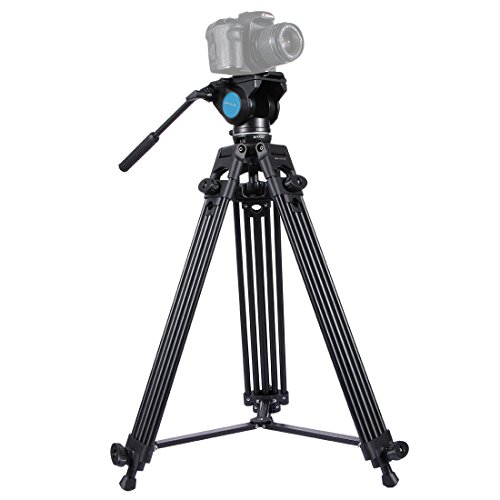Complete Tripod Units, PULUZ Professional Universal Heavy Duty Aluminum Alloy 3 in 1 Tripods Kit with Bowl Adapter + Fluid Drag Head for Cannon Nikon Sony Digital DSLR Cameras & Camcorders