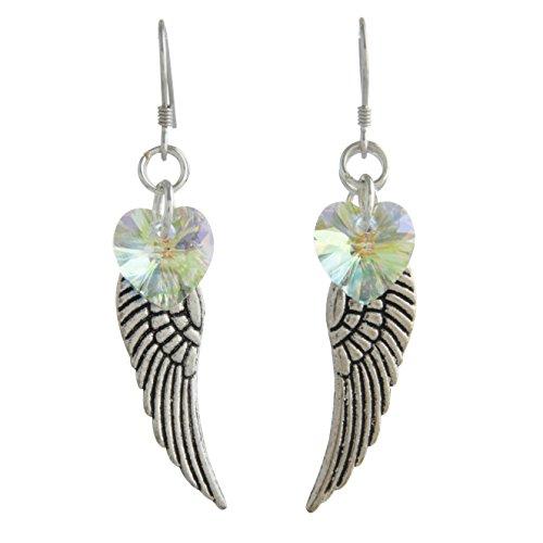 (Woodstock Angel Wing Earrings, Aurora Borealis- Rainbow Maker Collection )
