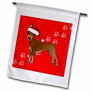 """3dRose fl _ 40910_ 2""""rojo con gorro de Papá Noel de perro Pinscher Doberman abrigo rojo Cartoon"""" bandera de Jardín, 18x 27"""""""